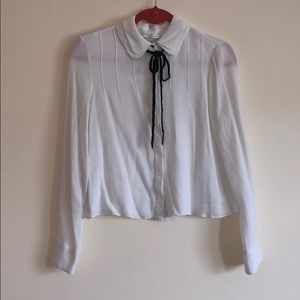 White Collared Tie Blouse